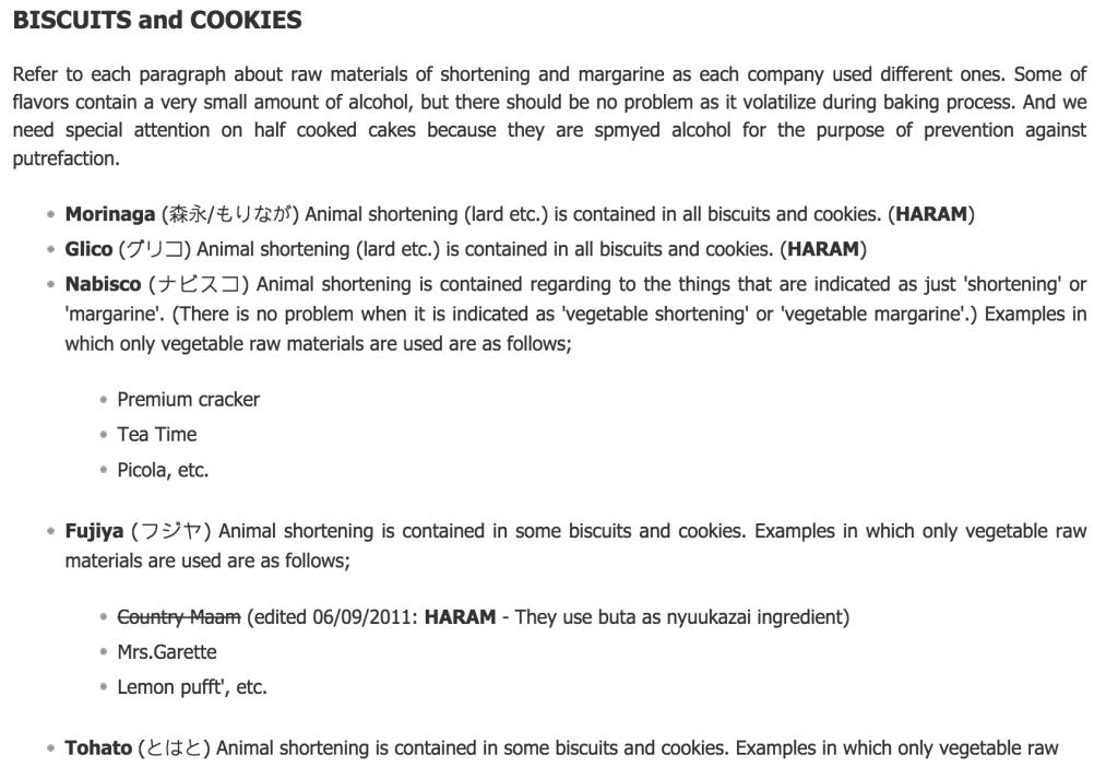 日本ブランド製品のハラムリスト